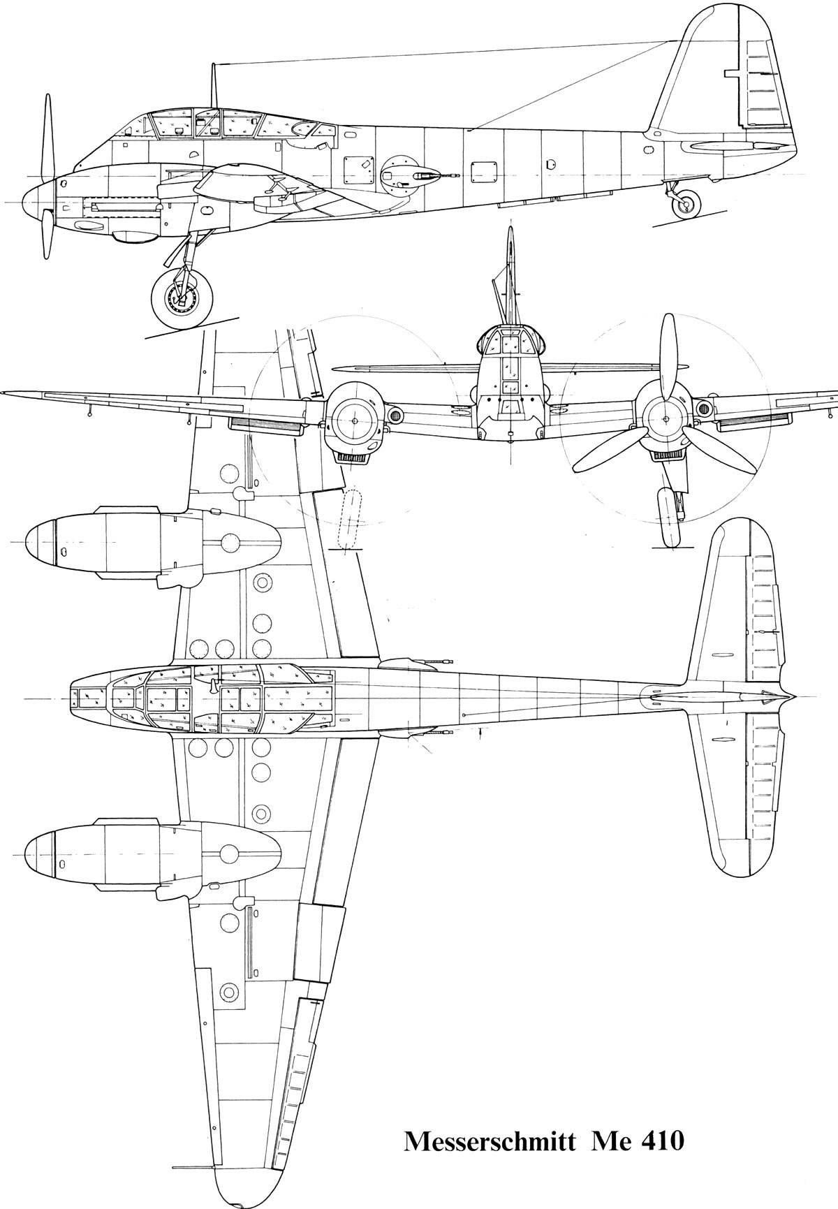 Чертеж тяжелого истребителя Мессершмитт Me-410