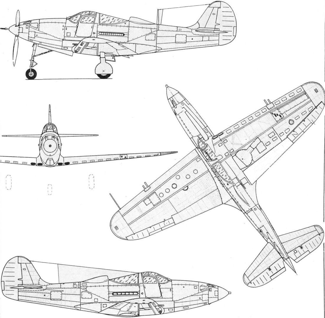 Чертеж истребителя P-39 Аэрокобра