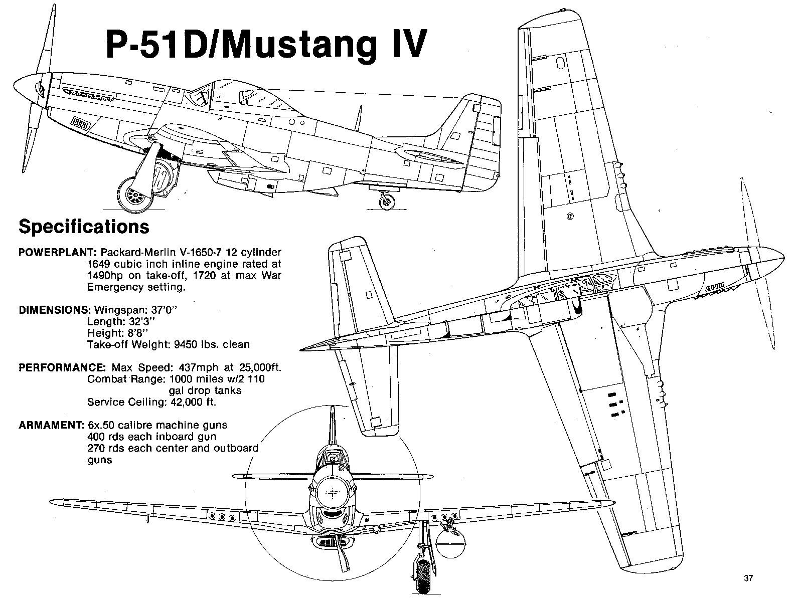 Чертеж истребителя P-51 'Мустанг'