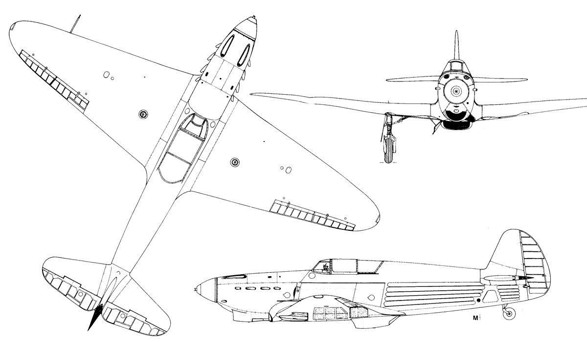 Чертеж истребителя Як-1