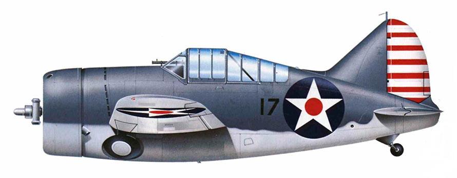 Палубный истребитель F2A, вид сбоку