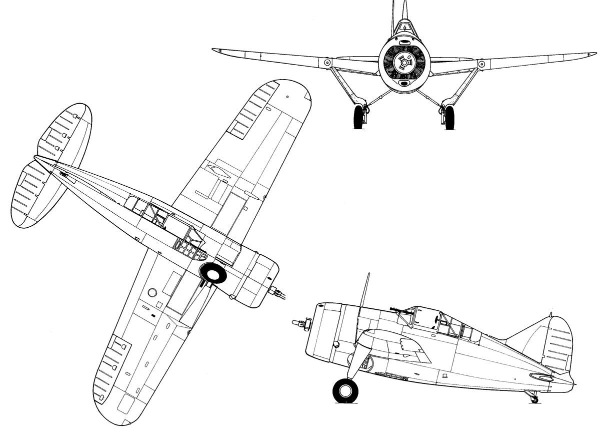 Чертеж истребителя F2A «Буффало» (В-239)