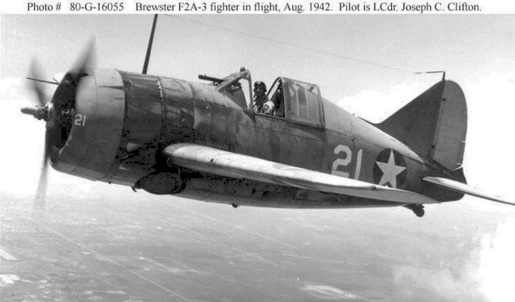 Палубный истребитель F2A-3, один из последних выпусков