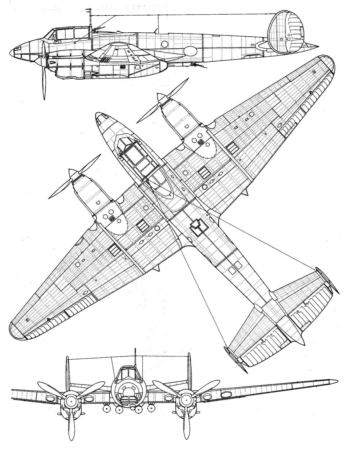Чертеж пикирующего бомбардировщика Пе-2