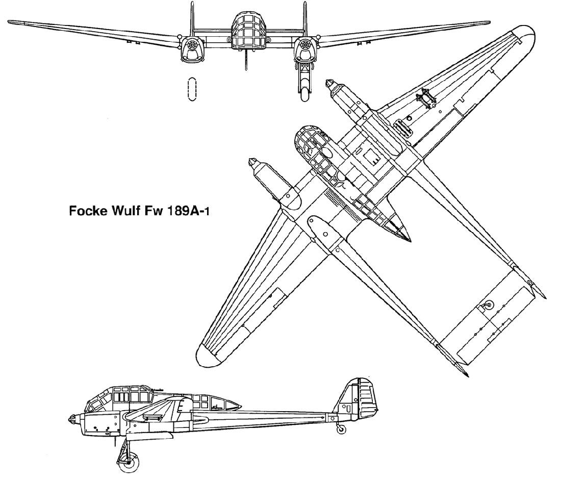 Чертеж самолета-разведчика Фокке-Вульф FW-189