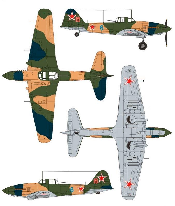 Штурмовик Ил-10 в разных проекциях