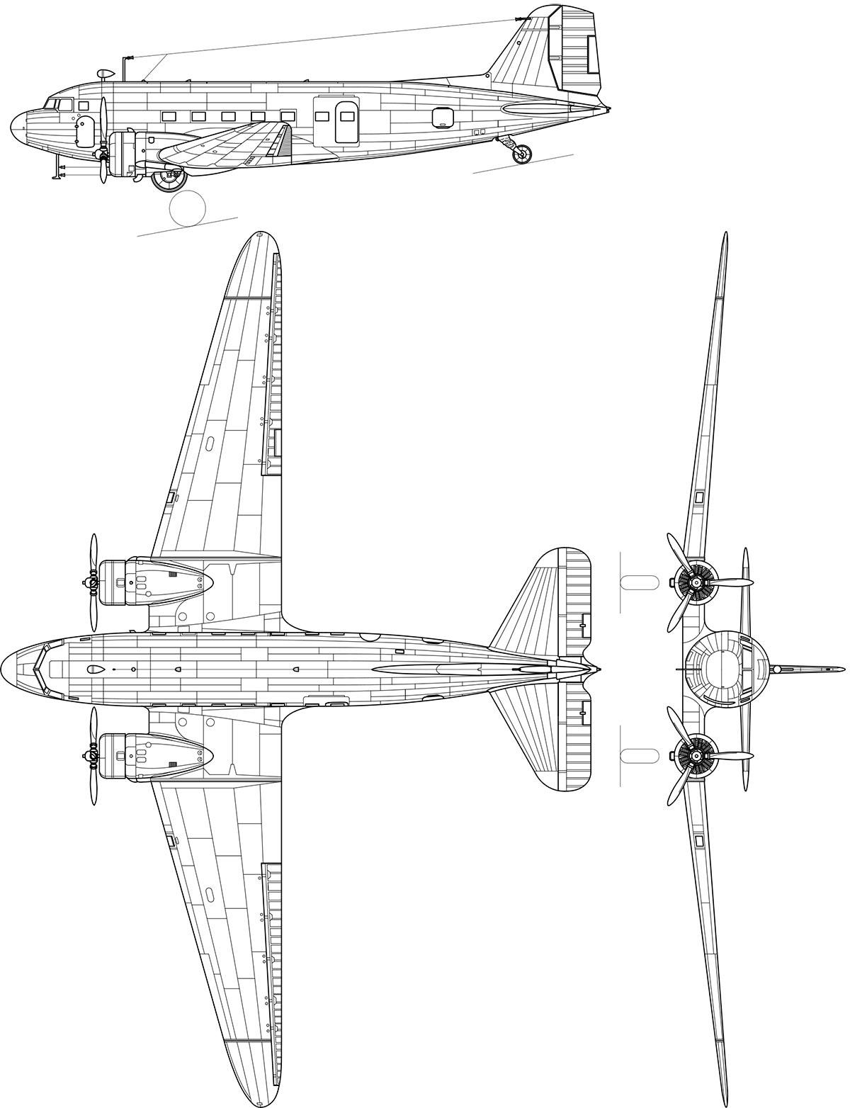 Чертеж военно-транспортного самолета Ли-2