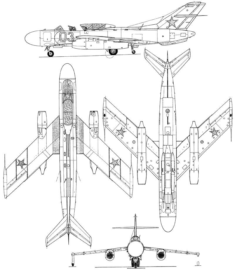 Чертеж барражирующего истребителя-перехватчика Як-25