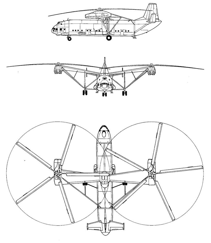 Чертеж вертолета Ми-12 (В-12)