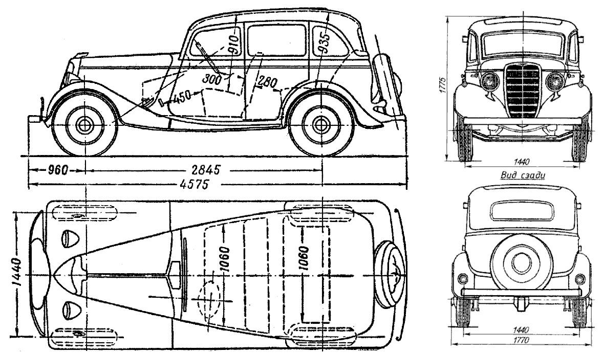 Чертеж автомобиля ГАЗ-М1 «эмка»