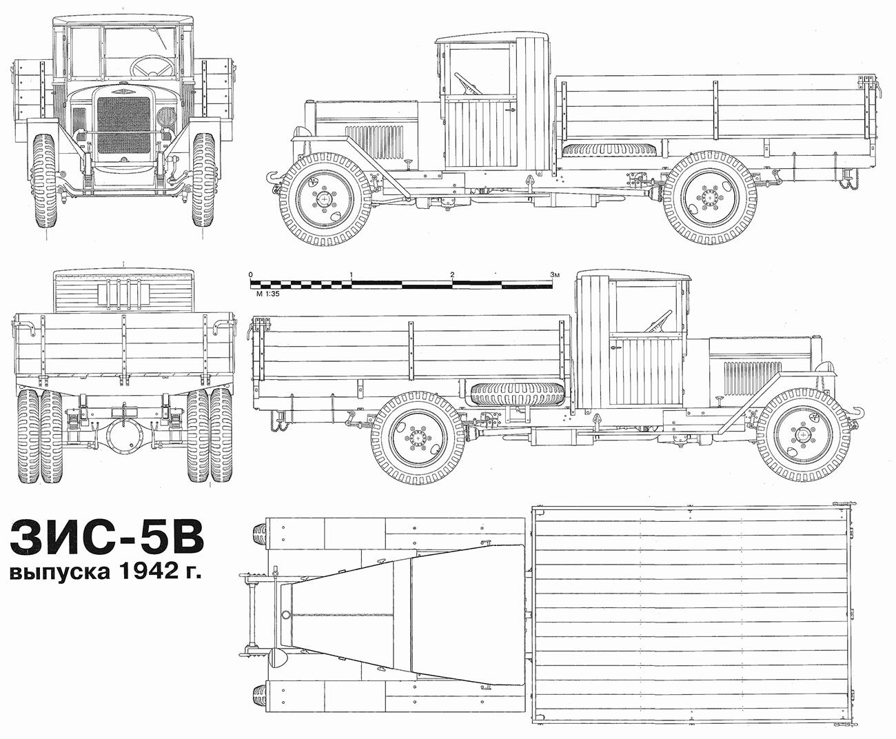 Чертеж ЗИС-5В (военный) - упрощенного варианта грузовика военного времени