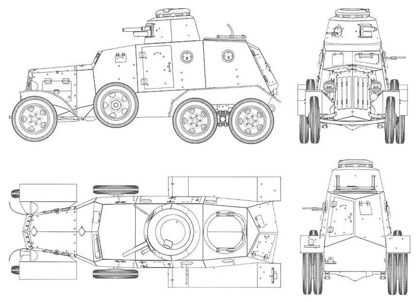 Чертеж бронеавтомобиля Д-13, броневик дыренкова