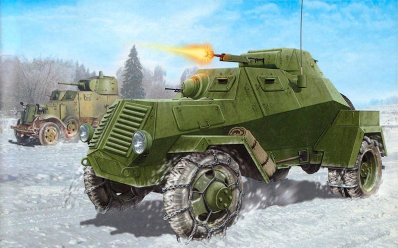 Рисунок-реконструкция бронеавтомобиля ЛБ-62 в бою.