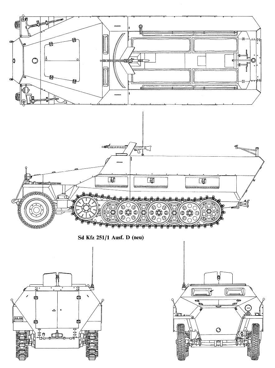 Чертеж бронетранспортера 'Hanomag' Sd.Kfz.251