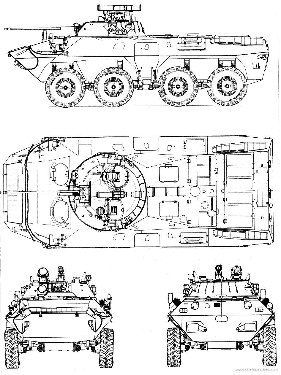 Чертеж бронетранспортера БТР-90 «Росток»