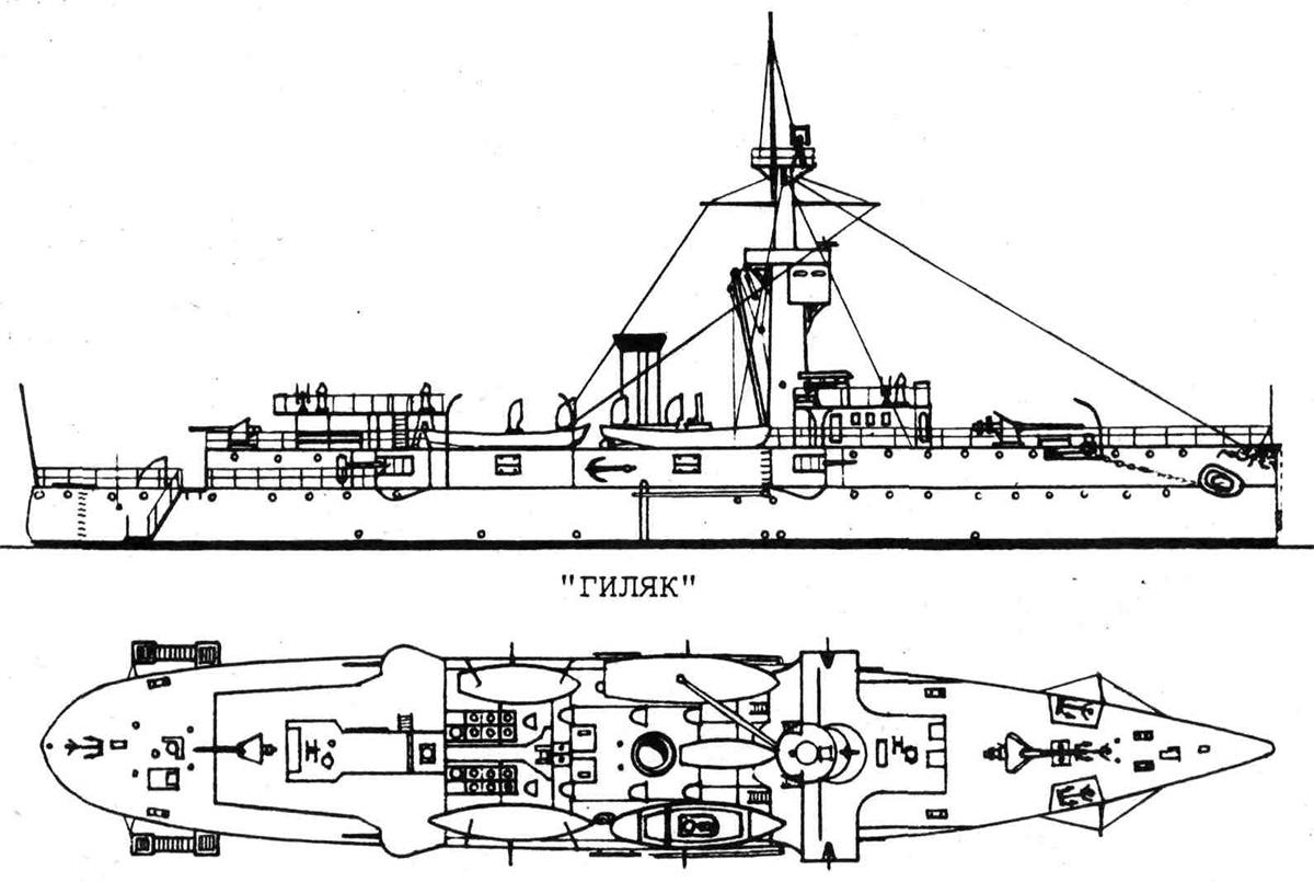 Чертеж-схема канонерской лодки «Гиляк»