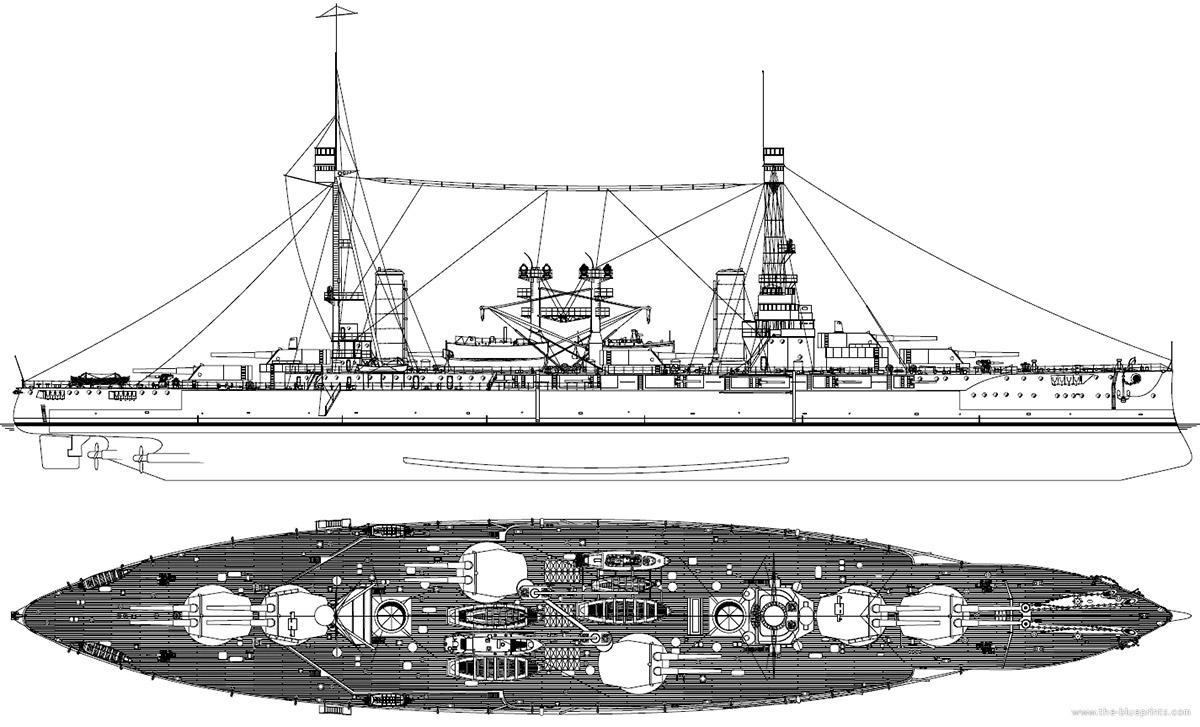 Схема-чертеж линейных кораблей типа «Ривадавия» («Ривадавия» и«Морено»)