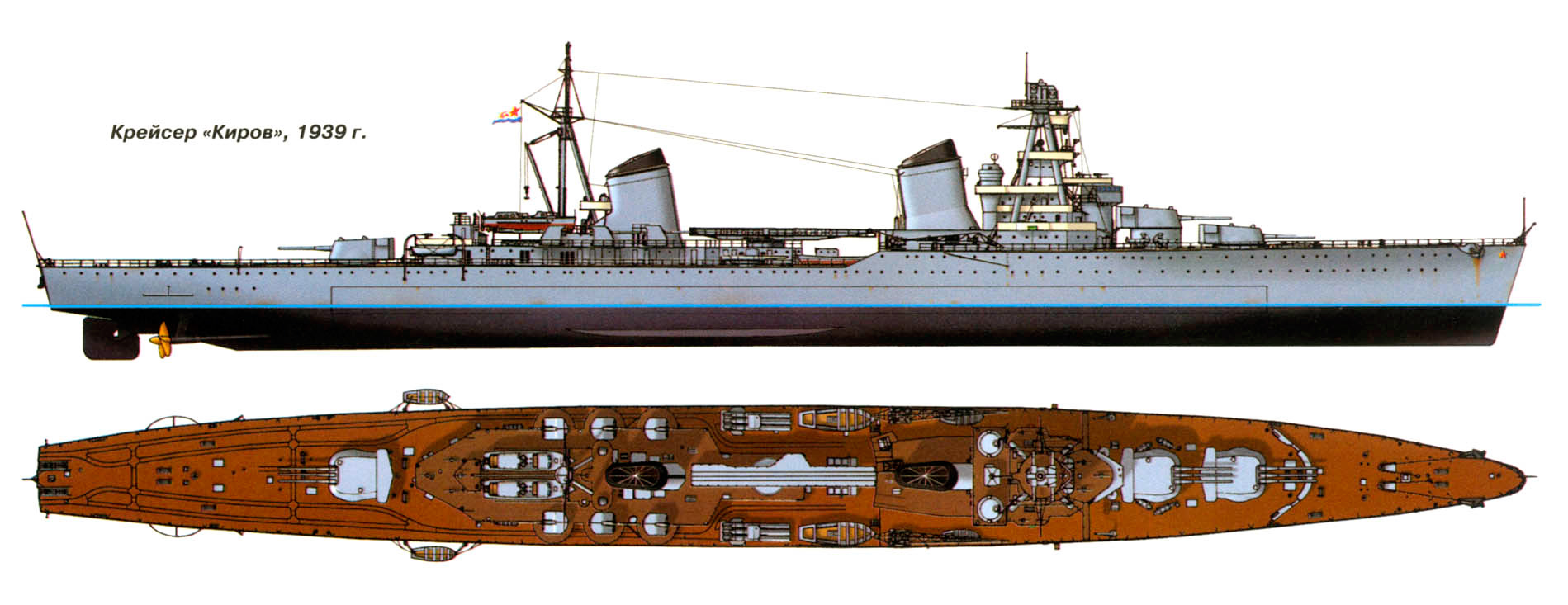 Общий вид легкого крейсера типа «Киров» (Проект 26)