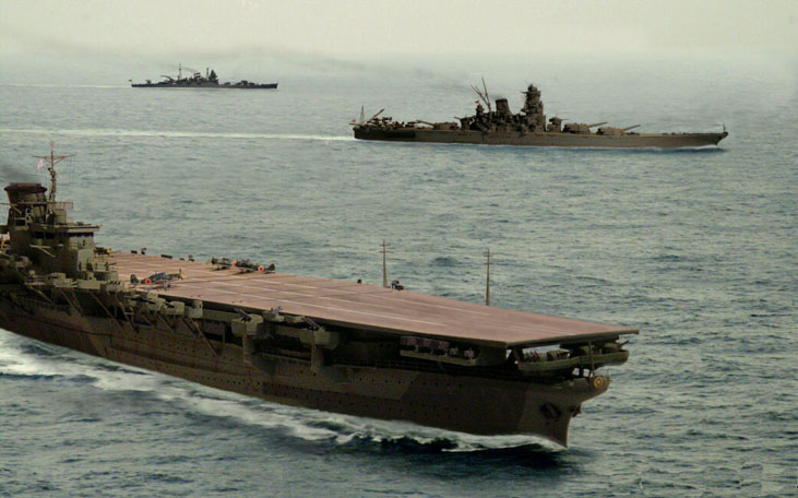 Художник изобразил 'Синано' (впереди) и 'Ямато' (сзади) вместе. Видно, что корабли имеют много общего.