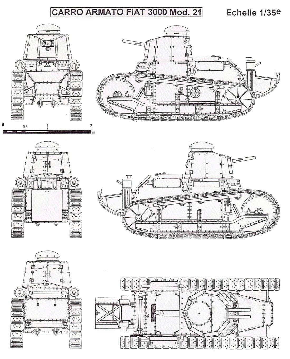 Чертеж легкого танка Fiat 3000