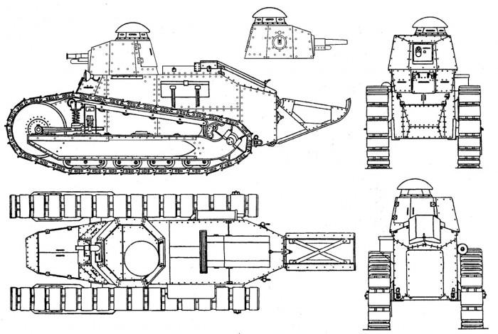 Чертеж танка 'Рено Русский'
