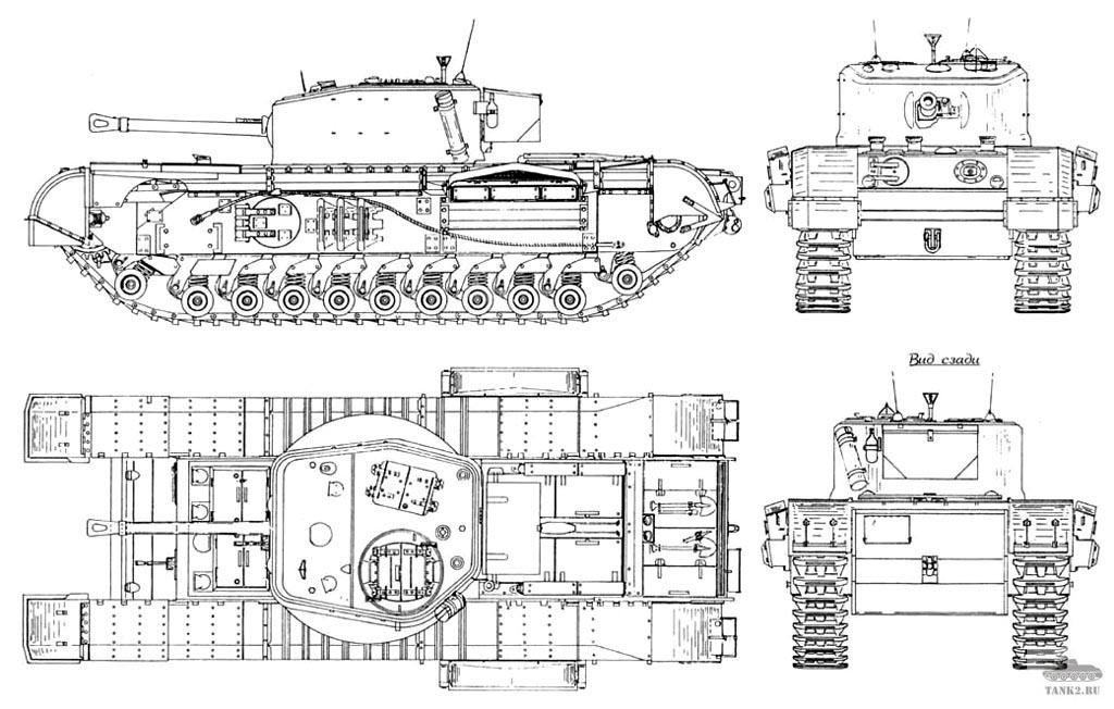 Чертеж тяжелого танка Mark IV «Черчиль»