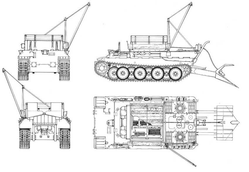 Чертеж БРЭМ Bergepanther Sd.Kfz.179
