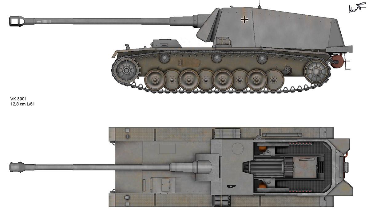 Чертеж-схема тяжелого истребителя танков «Sturer Emil»
