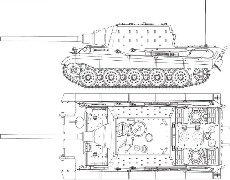 Чертеж истребителя танков 'Ягдтигр'