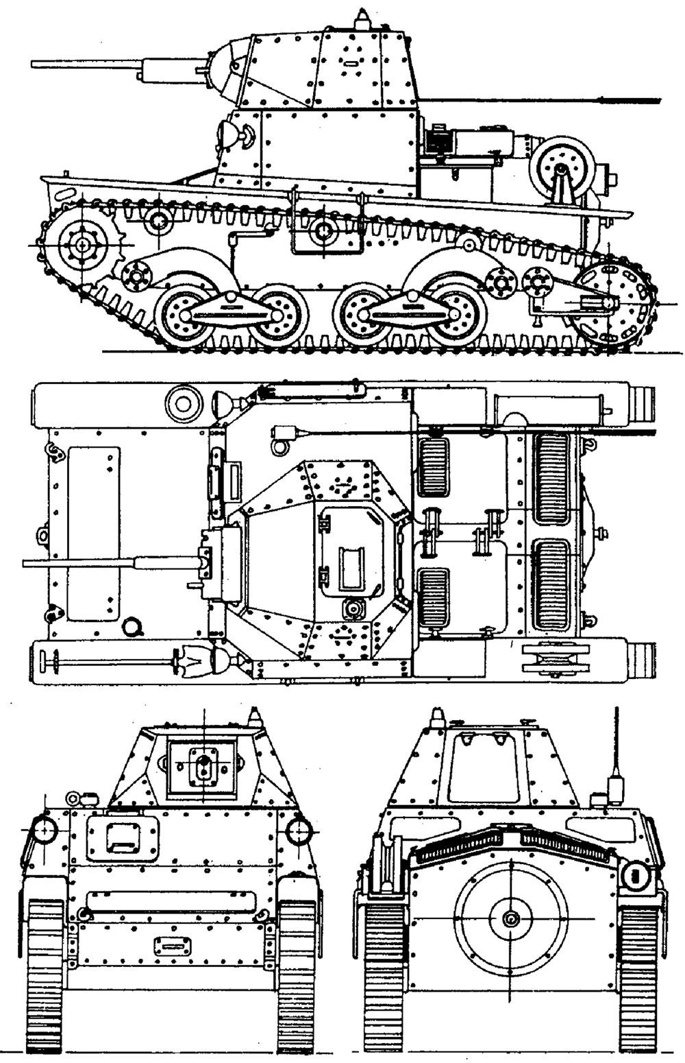 Чертеж легкого танка L6/40.