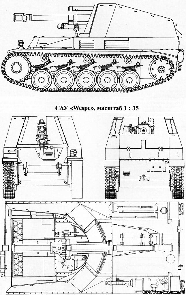 Чертеж немецкой самоходной гаубицы «Wespe»