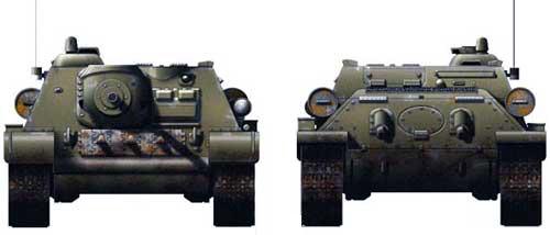САУ Су-85, вид спереди и сзади
