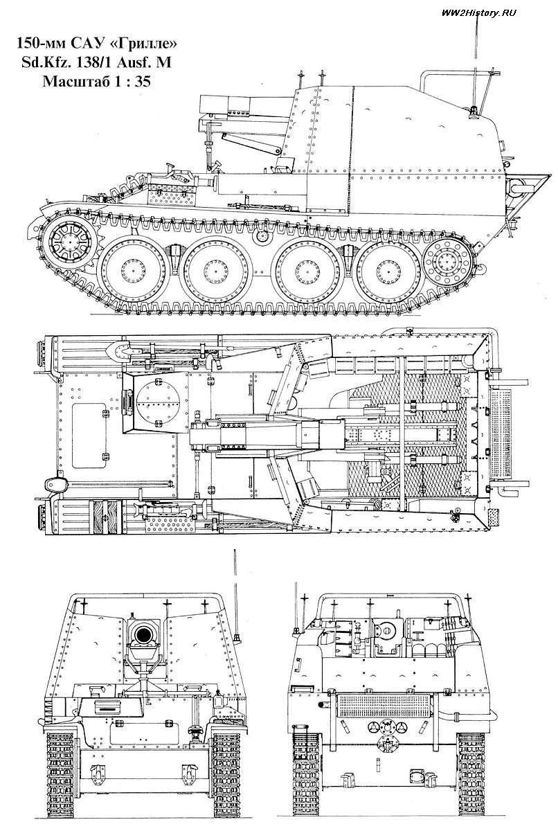 Чертеж самоходной пушки Sd.Kfz. 138/1 «Grille» aust M