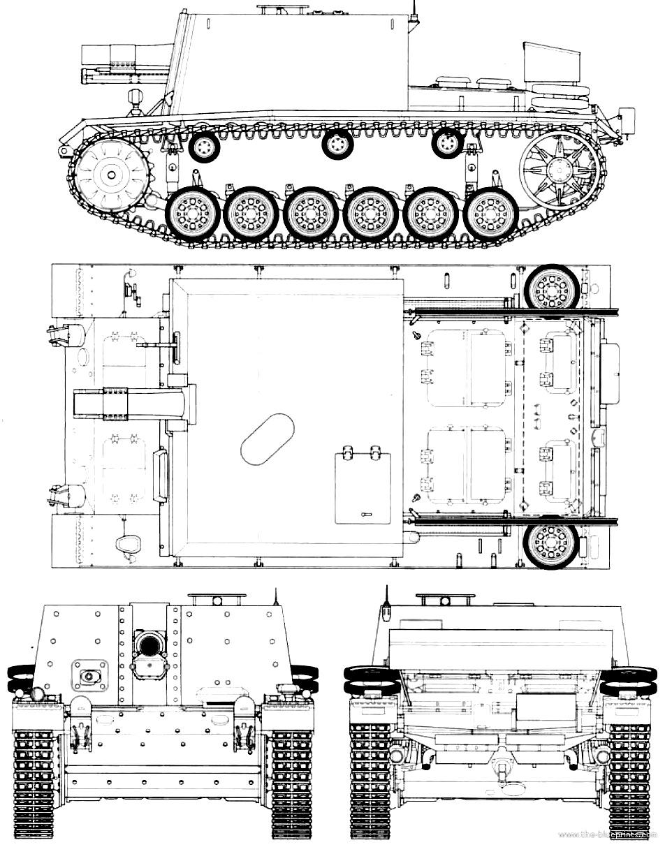 Чертеж штурмового пехотного орудия StuIG 33 (модель)