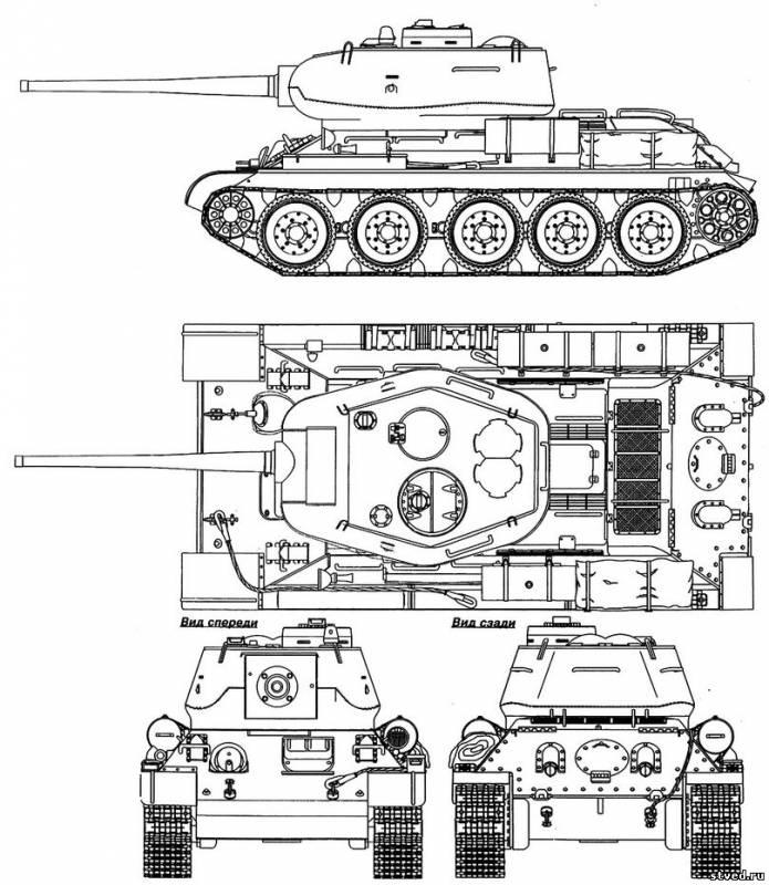 чертеж танка Т-34-85