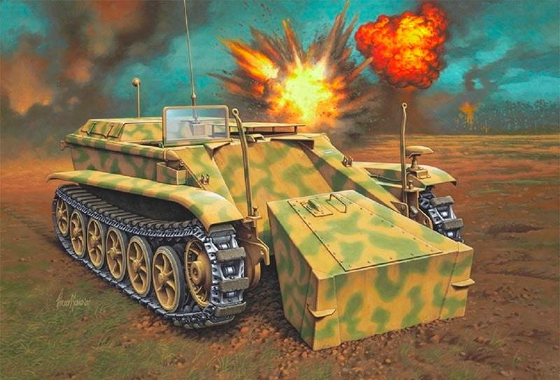 Сброс взрывчатки танкеткой B-IV (Sd.Kfz.301).