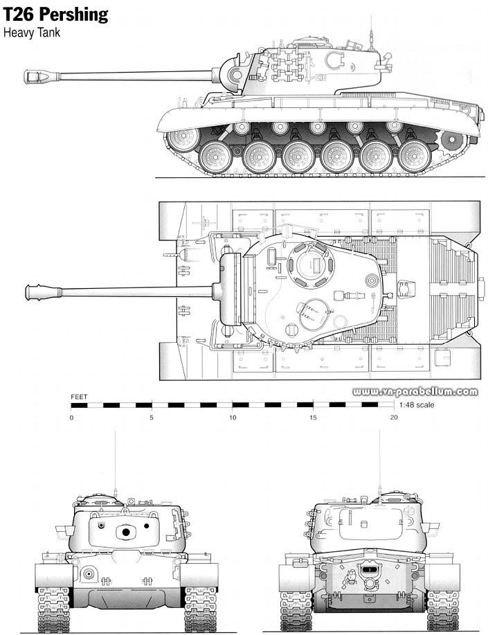 Чертеж тяжелого танка M26 «Першинг»