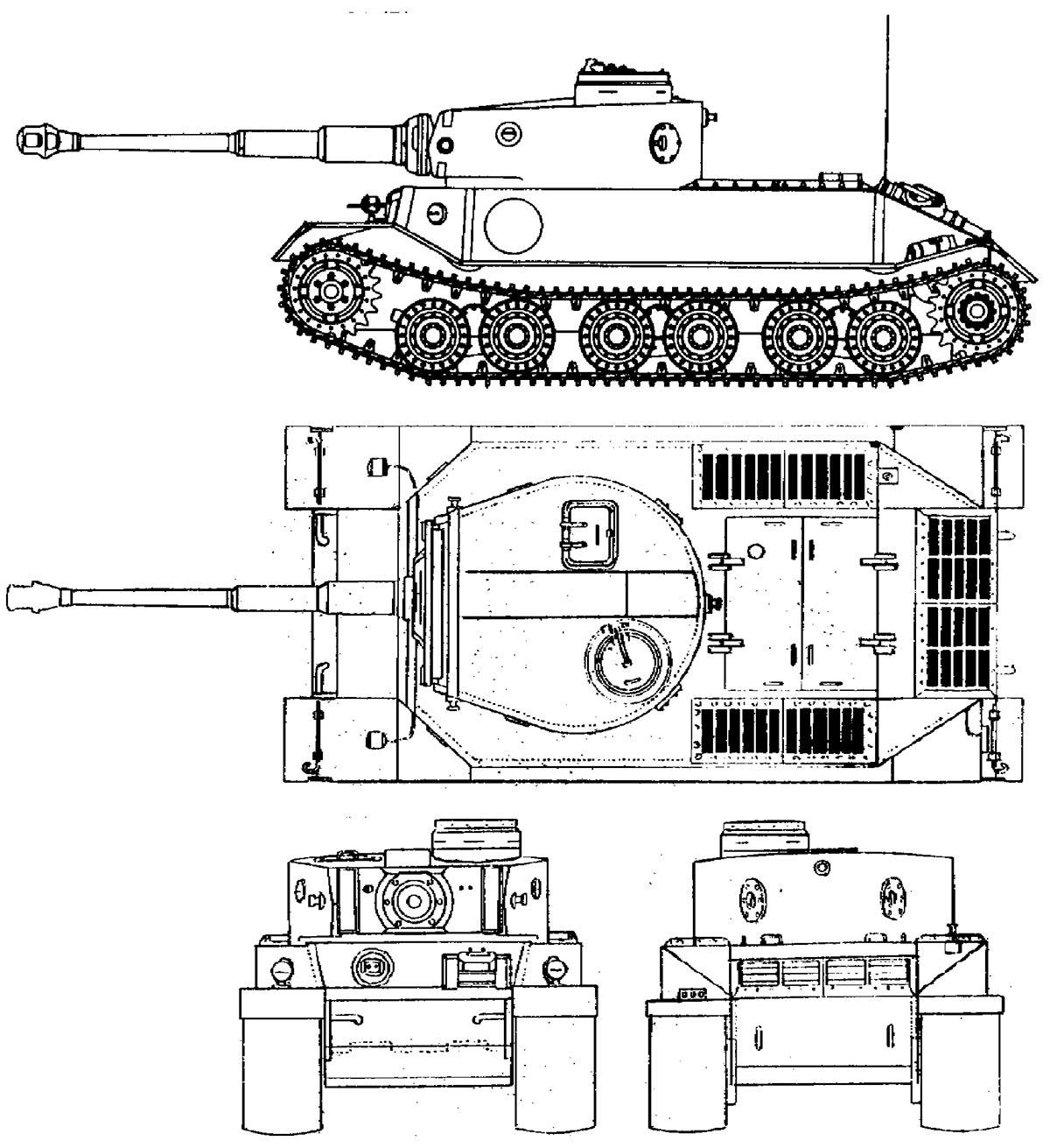 Чертеж 'Тигра Порше', прототипа VK4501(P)