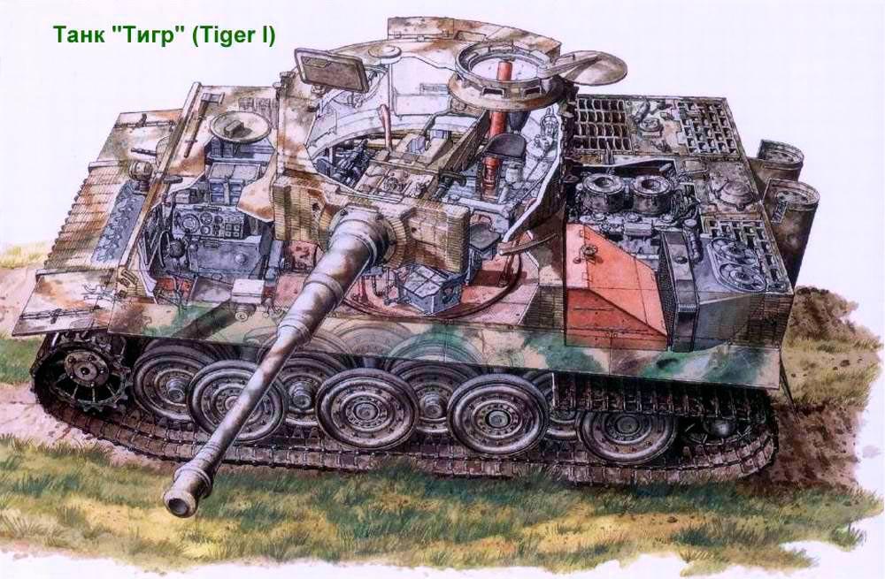Разрез тяжелого танка Pz VI 'Тигр'. Хорошо видна схема размещения катков и двигатель