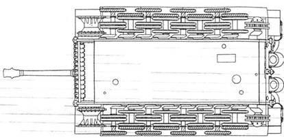 Схема размещения опорных катков танка Pz VI 'Тигр'. Крайние, заштрихованные катки снимались при транспортировке