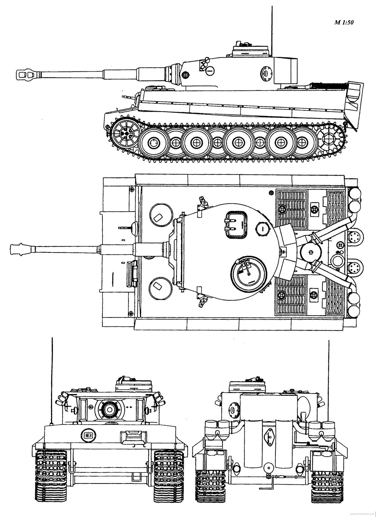 Чертеж тяжелого танка Pz VI 'Тигр'