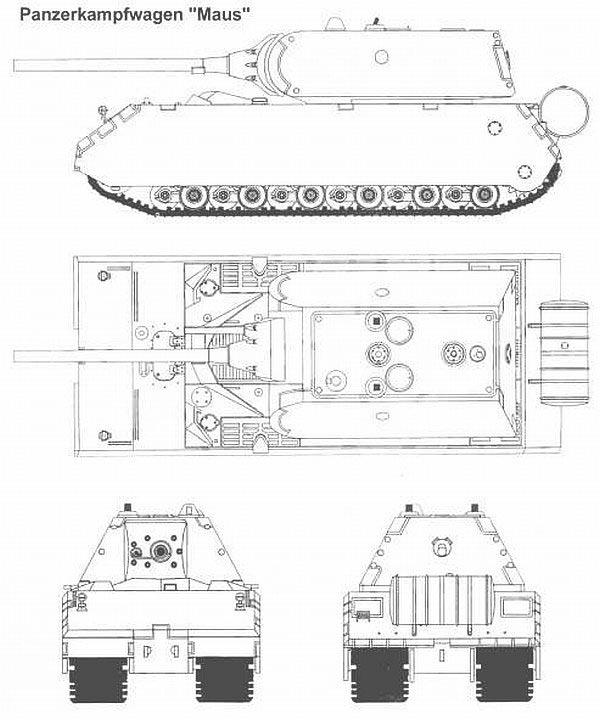 Чертеж тяжелого танкаPz.Kpfw.VIII «Maus»
