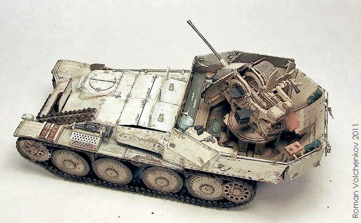 Зенитный танк Flakpanzer 38 (t), вид сверху-сзади (модель)