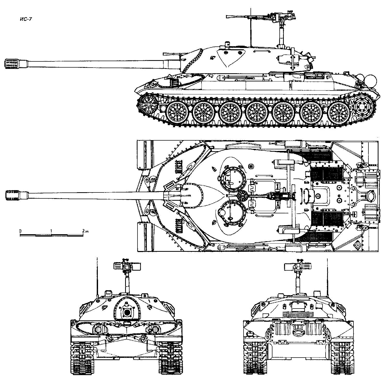 Чертеж тяжелого танка ИС-7