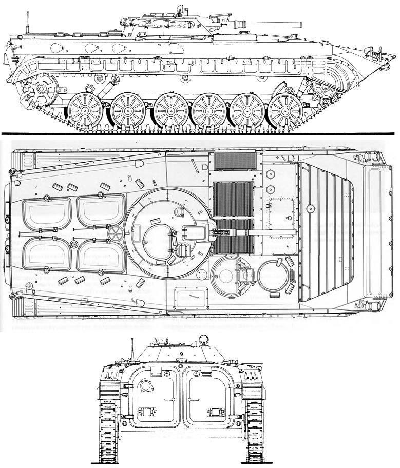 Чертеж боевой машины пехоты (БМП-1)