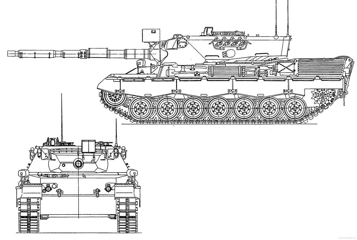 Чертеж основного танка Leopard I A4 (Германия)