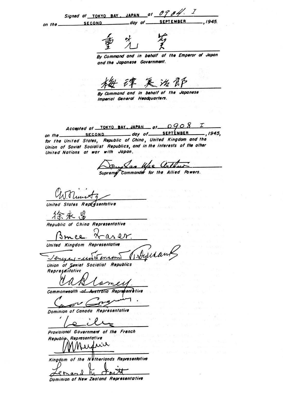 Подписной лист акта о капитуляции Японии (02.09.1945)