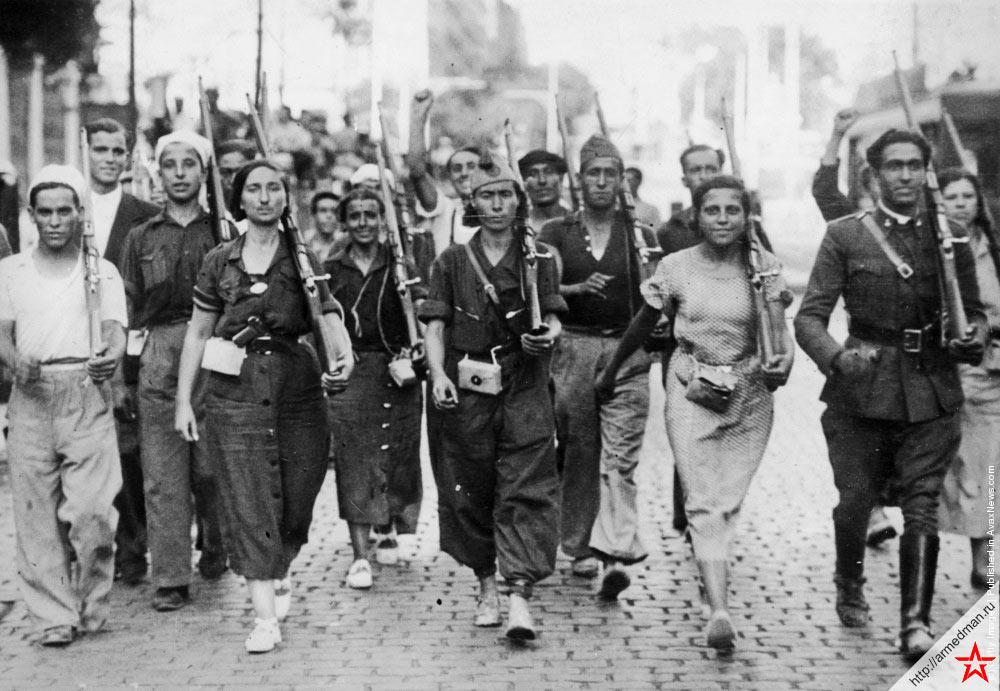 Ополченцы испанской «второй республики» на марше