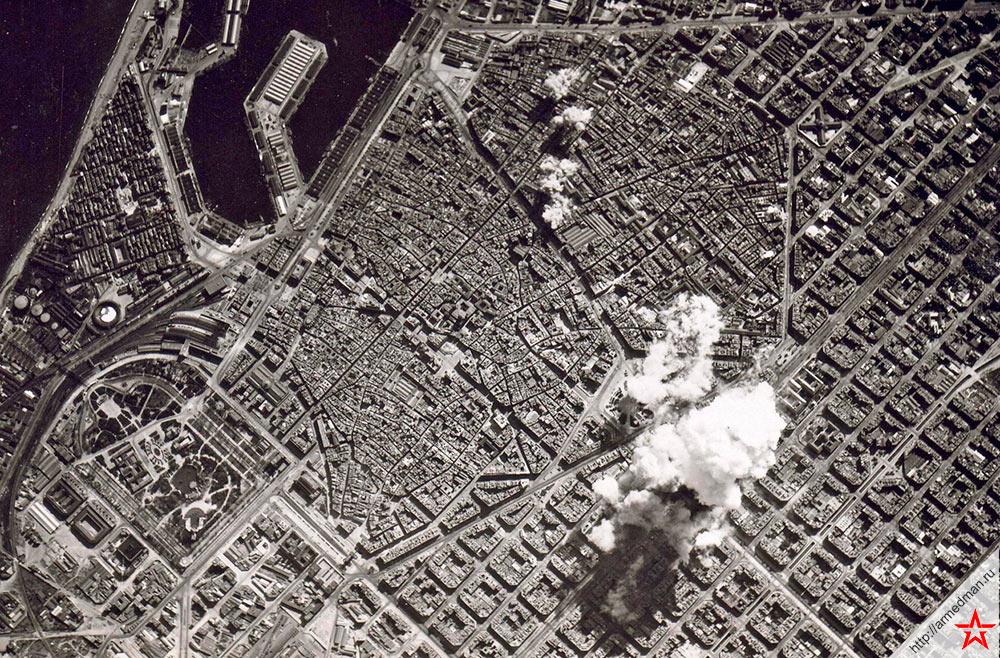 Бомбардировка Барселоны франкистской авиацией, 1938 г.