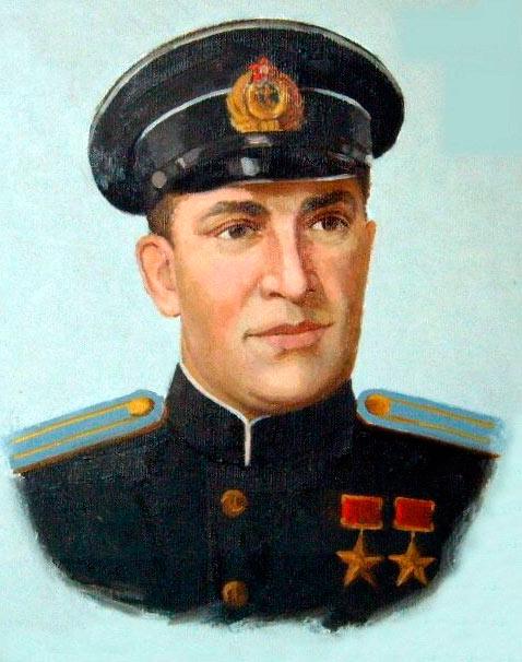 Дваждый герой СССР, Борис Феоктистович Сафонов. Портрет, холст, 1965 г.